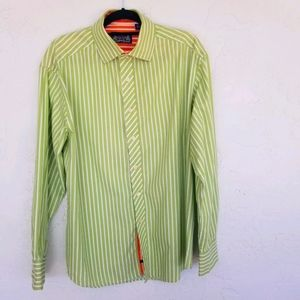 R&G London/NY Green/White Stripe  Shirt SZ XL